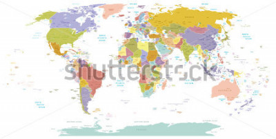 Naklejka High Detail World map.All elements are separated in editable layers clearly labeled. Vector