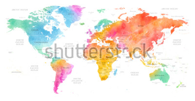Naklejka High detailed Multicolor Watercolor World Map Illustration with borders, oceans and countries on white Background, Side View.
