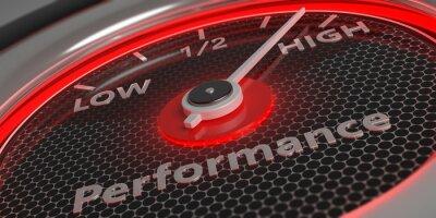 Naklejka High performance. Car gauge closeup. 3d illustration