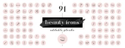 Naklejka Highlight covers backgrounds. Set of beauty icons.