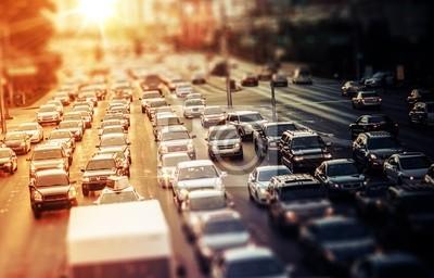 Naklejka Highway Traffic at Sunset