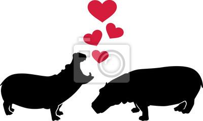 Naklejka Hipopotamy w miłości