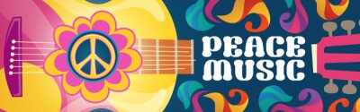 Naklejka Hippie music cartoon banner with acoustic guitar and peace symbol on colorful ornate psychedelic background. Rock-n-roll hippy musical disco party, pop concert, festival live event Vector retro design