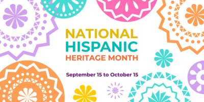 Naklejka Hispanic heritage month. Vector web banner, poster, card for social media and networks. Greeting with national Hispanic heritage month text, Papel Picado hispanic abstract pattern on white background.