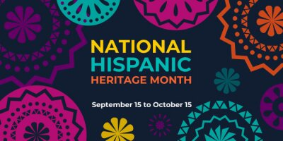 Naklejka Hispanic heritage month. Vector web banner, poster, card for social media and networks. Greeting with national Hispanic heritage month text, Papel Picado pattern, perforated paper on black background.