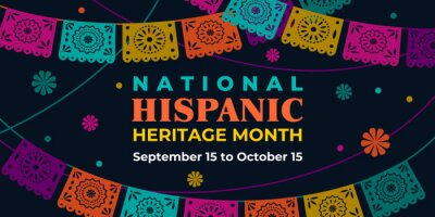 Naklejka Hispanic heritage month. Vector web banner, poster, card for social media, networks. Greeting with national Hispanic heritage month text, Papel Picado pattern, perforated paper on black background.