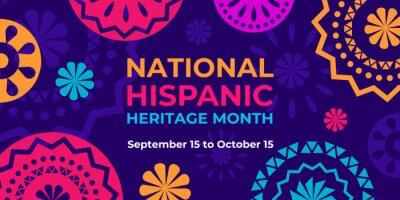 Naklejka Hispanic heritage month. Vector web banner, poster, card for social media, networks. Greeting with national Hispanic heritage month text, Papel Picado pattern, perforated paper on purple background.