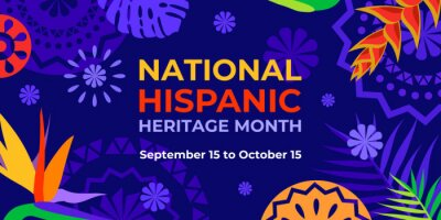 Naklejka Hispanic heritage month. Vector web banner, poster, card for social media, networks. Greeting with national Hispanic heritage month text, Papel Picado pattern, tropical plants on purple background.