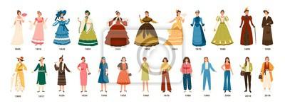Naklejka Historia mody. Kolekcja odzieży damskiej przez dziesięciolecia. Pakiet pięknych kobiet ubranych w stylowe ubrania na białym tle. Kolorowa wektorowa ilustracja w płaskim kreskówka stylu.