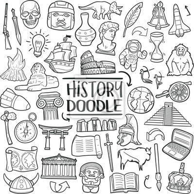 Naklejka History of Humanity Subject. Traditional Doodle Icons. Sketch Hand Made Design Vector Art.