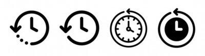 Naklejka History past events vector icon isolate on white background. Clock go back in time.