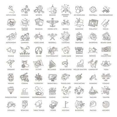 Naklejka Hobbies and interest detailed line icons set in modern line icon style