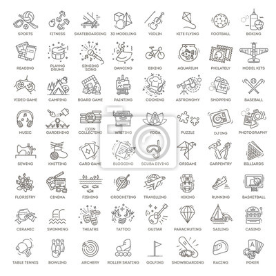 Naklejka Hobbies and interest detailed line icons set in modern line icon style for ui, ux, web, app design