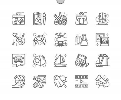 Naklejka Hobby Dobrze wykonane ikony Pixel Perfect Vector Cienka linia 30 2x Siatka do grafiki i aplikacji internetowych. Prosty minimalny piktogram