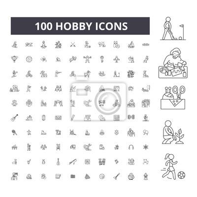Naklejka Hobby editable line icons, 100 vector set on white background. Hobby black outline illustrations, signs, symbols