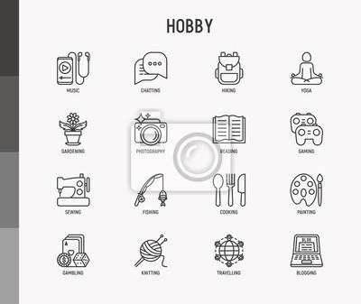 Naklejka Hobby thin line icons set: reading, gaming, gardening, photography, cooking, sewing, fishing, hiking, yoga, music, travelling, blogging, knitting. Modern vector illustration.