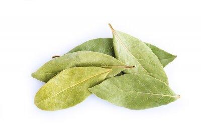 Naklejka Hojas de laurowy secas, especias para cocina aisladas en blanco