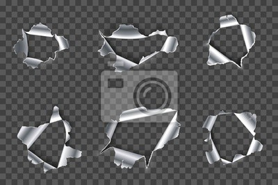 Hole in metal. Ripped steel, ragged metals holes and crack in metallic material realistic 3D vector set. Fractured silver metallic gaps on transparent background. Damaged iron cliparts collection