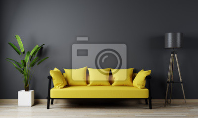 Naklejka Home interior, luxury modern dark living room interior, black empty wall mock up, yellow 3d render