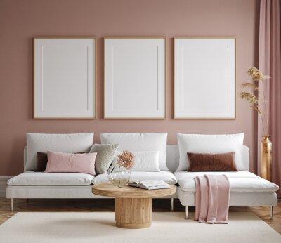 Naklejka Home mock up, modern living room interior background, 3d render