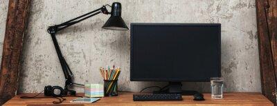 Naklejka Home workplace - desk with computer