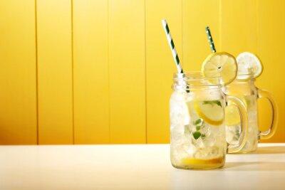 Naklejka Homemade Lemonade w słoikach mason