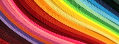 Naklejka Horizontal Abstract vibrant color wave rainbow strip paper background.