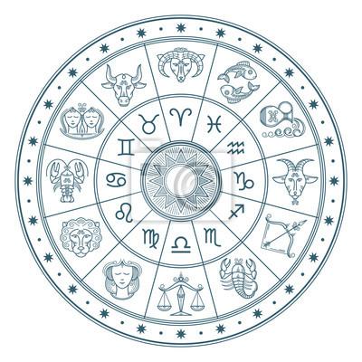 Naklejka Horoskop okr? Gu zodiaku znaki wektora t? A