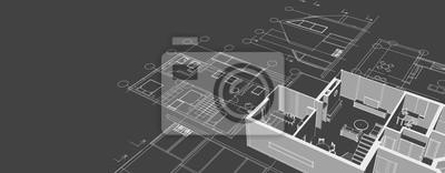 Naklejka house architectural project sketch 3d illustration