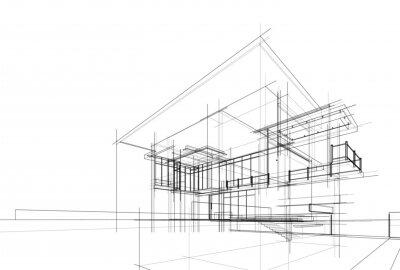 Naklejka house building sketch architecture 3d illustration