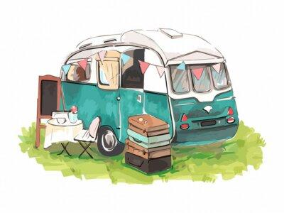 Naklejka House on wheels. Hipster watercolor camper van or trailer for print design. Watercolor illustration. Vintage print.