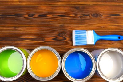 Naklejka House renovation, paint cans on the old wooden background with copy space - Image