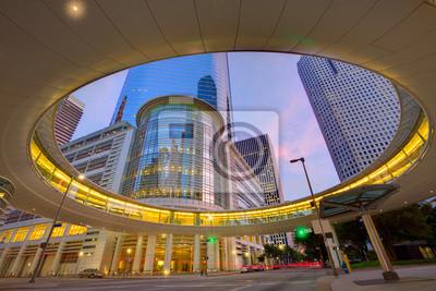 Naklejka Houston Downtown zachód słońca wieżowce Texas