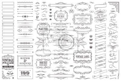 Naklejka Huge collection or set of vector decorative elements for design