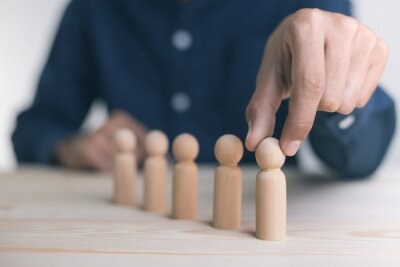 Naklejka Human resource management, HR, recruitment, leadership and teambuilding. Business and technology concept.