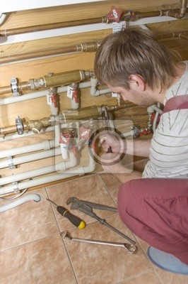 Naklejka Hydraulik w pracy