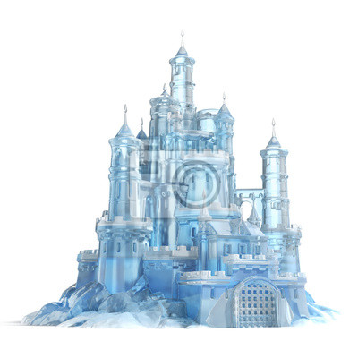 Naklejka ice castle 3d illustration