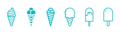Naklejka ice cream, sweet ice cream, children's ice cream stand, blue ice cream
