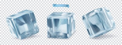 Naklejka Ice cube with transparent. 3d vector realistic set of objects