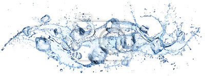 Naklejka Ice Cubes In Splashing - Cold And Refreshment