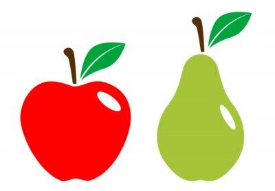Naklejka Icono plano Manzana y pera