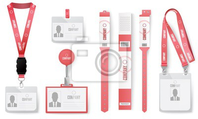 ID cards badges. Red identification badges on lanyard, necklace tag, label cards and event identity labels realistic vector set. Access card, pink realistic iD mockup, paper wristbands