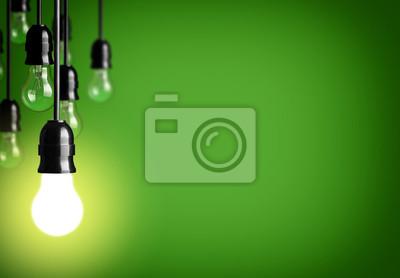 Naklejka Idea koncepcji na zielonym tle.