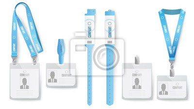 Identification card badge. Event identification cards, badges on lanyard and blue ID mockup realistic vector set.Employee pass, access card with neck hangers and clips. Paper wristbands for events