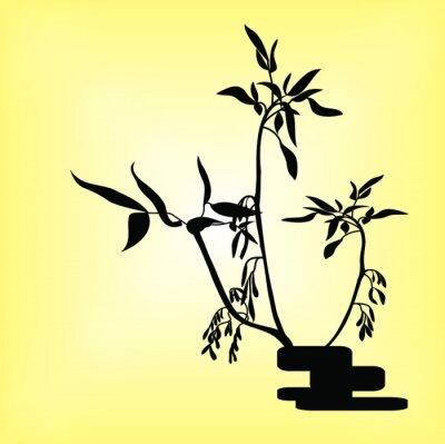 Naklejka Ikebana siluet