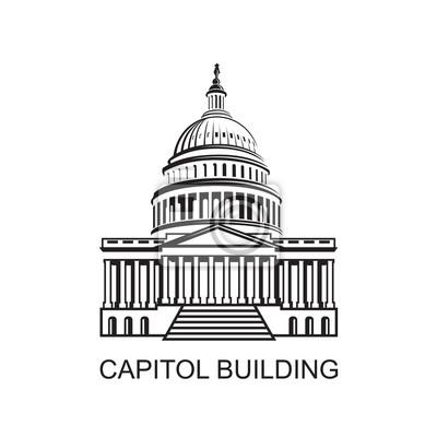Naklejka Ikona budynku Kapitolu w Waszyngtonie