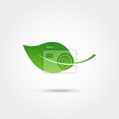 Naklejka Ikona Eco z zielonym liściem