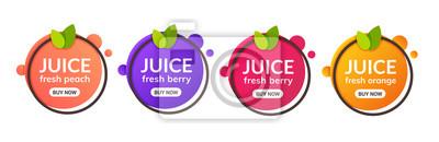 Naklejka Ikona etykiety świeżych owoców sok. Pomarańczowa, cytrynowa, jagodowa, brzoskwiniowa naklejka zdrowego soku