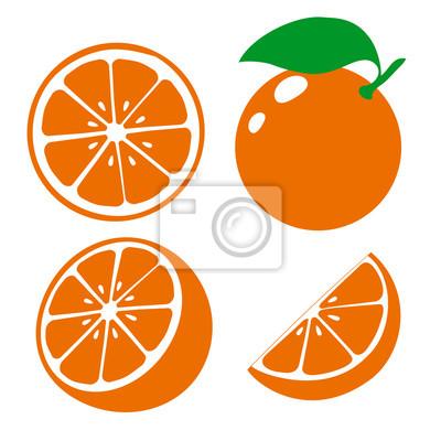 Naklejka Ikona pomarańczowe owoce. Ustaw świeżą pomarańczę i plaster. Pojedynczo na białym tle. Wektor