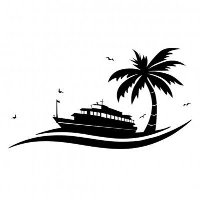 Naklejka Ikona Statek Palme